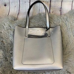 Medium Sized Silver Black Reversible Tote Bag NWT